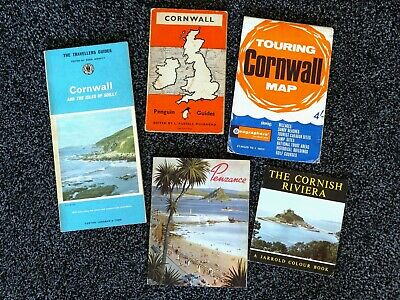 Collection Of Old Tour Guides Of Cornwall, Plus Large Fold-Out Map