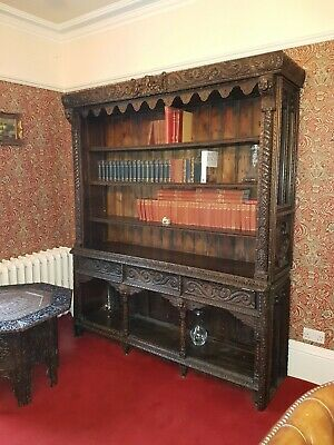 19Th Century Victorian Profusely Carved Open Bookcase Dresser