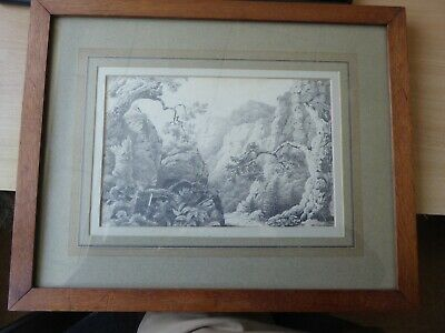 English antique early 19th century Romantic school pencil drawing Cheddar Gorge