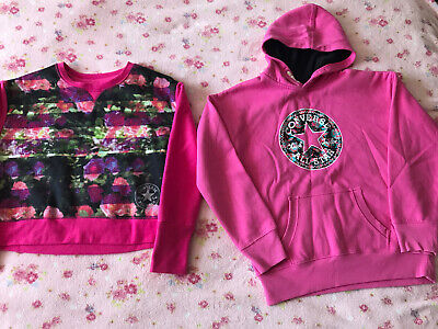 Girls Pink All Star Converse Hoody & Jumper Set/Job Lot Age 12-13 Years