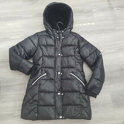 Girls shiny black winter padded hooded coat age 9-10 excellent condition
