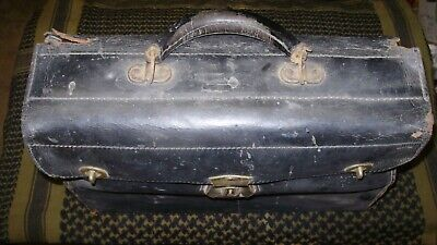 Antique Solid Leather & Brass Salesman/ Doctor Carry Case