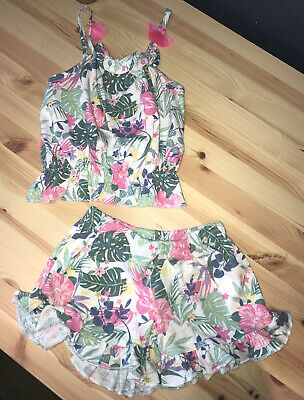 George At Asda Girls Floral Strappy Top And Shorts Set Age 6-7 Genuine!