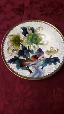 VTG Cloisonne' 7in bird dish Fine quality
