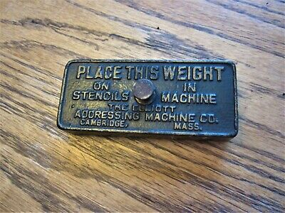 Antique Cast Iron THE ELLIOT ADDRESSING MACHINE CO Advertising Paperweight Press