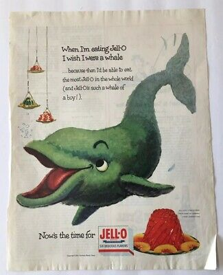 3 Vintage 1954 Jello Ads - Whale - Seal - Rabbit