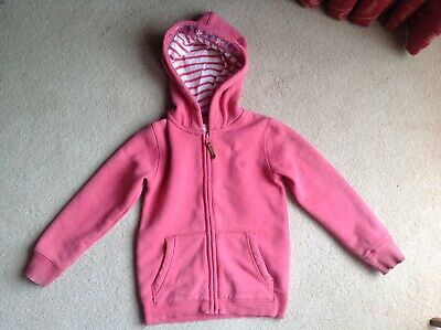 Girls FAT FACE Pink Zipped Fleece-Lined Hoodie Age 4-5 Years