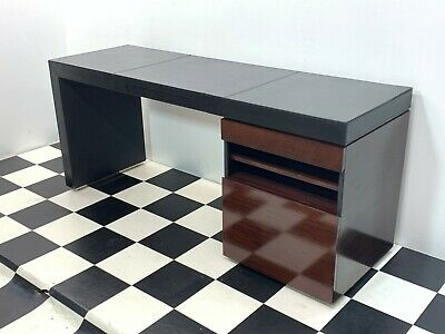 Modern Decca executive office desk in walnut finish with leather top - Delivery