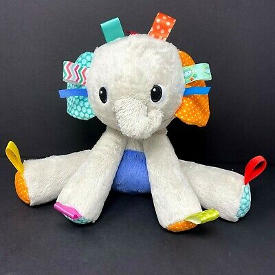 "Bright Starts Taggies Gray Elephant Plush 9"" Stuffed Animal Baby Rattle Lovey"