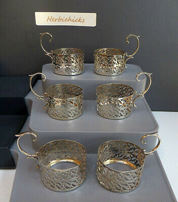 Set of 6 Ornate Hallmarked Silver Coffee Can/Cup Holders - WM & Co 1922