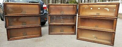 9 Globe Wernicke Grade 299 Stacking Barrister Oak Bookcases  110 & D10 1/4