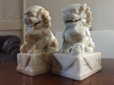 Pair Of Finely Hand Carved Chinese Jade/White Stone Foo Dogs