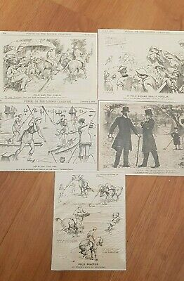 Vintage (1875-1921) punch magazine cartoons 5 X Polo ready for framing