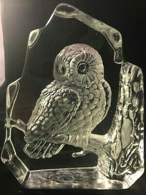 Etched 3D Glass Sculpture of Owl in Tree - Gorgeous!