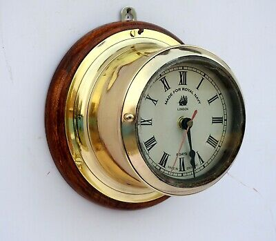 British Royal Navy Antique Maritime Wall Clock Vintage Navigation Brass Bulkhead