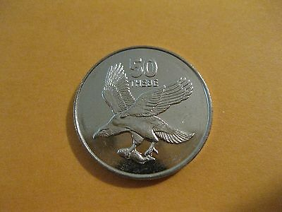 1998 Botswana coin  50 Thebe   African Fish Eagle   unc beauty  small size