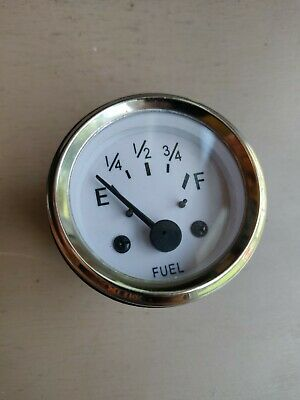 Fuel Gauge 12v - White - New - Free Shipping