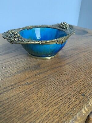Rare-French Sevres Paul Millet Blue Flambé Glaze Bronze Porcelain Dish