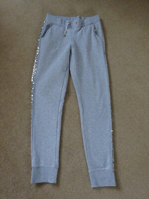 Girls Grey Marl Sequinned Trim Jogging Pants By Marks & Spencer Age 10-11 Years