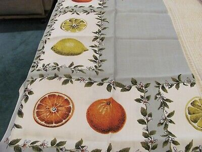 "Exquisite Lemons & Oranges Tablecloth  48"" X 48"" Rayon Made in Ireland by Dunmoy"