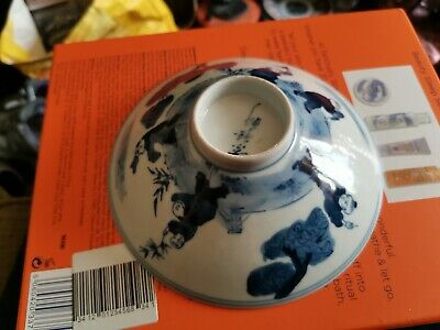 Antique Early 19th. Century Chinese Blue And White Bowl Cover