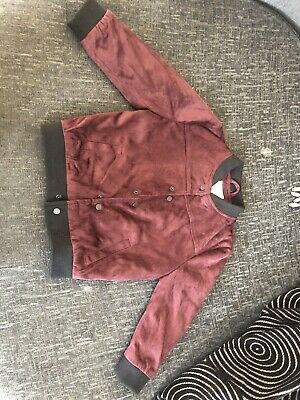 River Island Mini Boys Burgundy Suede Bomber Jacket Boys 2-3 Years
