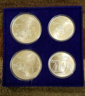 1976 Canada Montreal Olympics Silver 4-Coin Set-Series I Geographic uncirculated