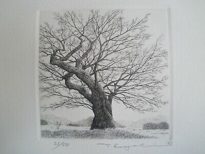 """Ryohei Tanaka Etching """"An Old Tree No. 2"""" Signed Limited Edition"""