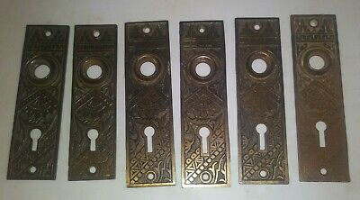 6 Antique Victorian Eastlake Door Plate Backplate Salvaged Free Shipping