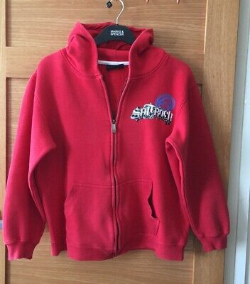 Boys/Girls Saltrock Age 13 Red Zip Up Hoodie Long Sleeves With 2 Front Pockets.