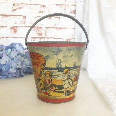 RARE Antique Victorian Tin Litho Sand Pail, Vintage Toy Metal Beach Bucket