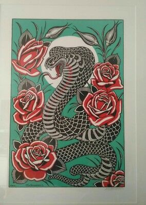 Tim Hendricks Print Cobra & Rosen signiert  Tattoo Art