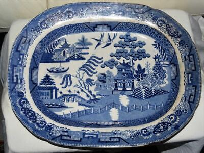 ANTIQUE CHINESE EXPORT BLUE & WHITE WILLOW PATTERN MEAT PLATE,18c,COLLECTIBLE