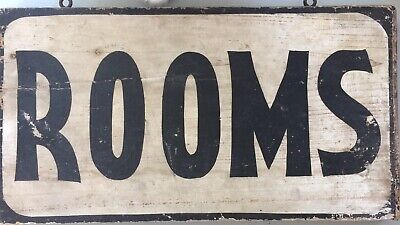 1900's old two-sided handmade boarding ROOMS wood Sign