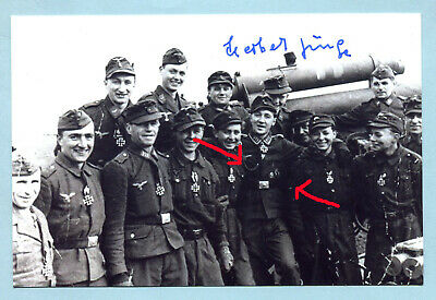Luft Flak Knights Cross Signed Pic - Junge