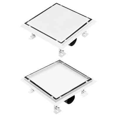 vidaXL Shower Drain With 2-in-1 Flat and Tile 20x20cm Stainless Steel Cover~