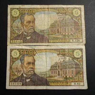 1967-70 France French --  Pair 2 X 5 Francs