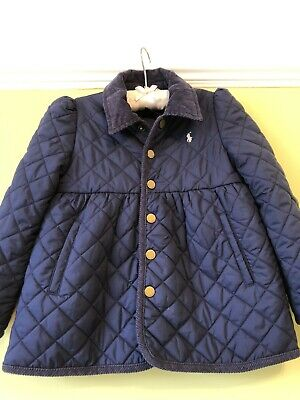 Girls Stunning Designer Ralph Lauren Navy Smart Quilted Jacket Age 5 Mint Summer