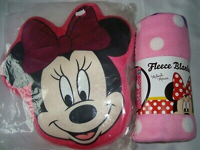 Minnie Mouse Cushion Pillow Head Shaped Blanket Pink New Official Gift Set