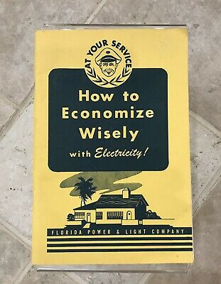VINTAGE WWII FLORIDA POWER & LIGHT FPL BOOKLET BROCHURE How to Economize Wisely