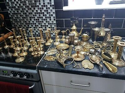 Big Joblot Of Antique Brass , Old Candle Holders , ,Bells, 12 Photos To View