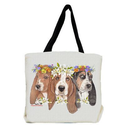 Basset Hound Dog with Flowers Tote Bag