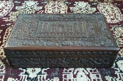 Antique Anglo Indian Hand Carved Wooden Box. Taj Mahal Carved Box Hinged, Lined.