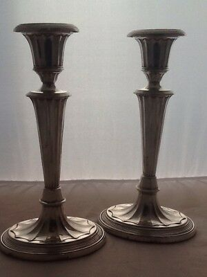 Large Pair Of Adams Style Silver Fluted Candlesticks - London 1896