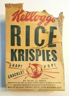 Vtg 1940s Kellogg's Rice Krispies Cereal Box Snap Crackle Pop - Hand Puppets Ad