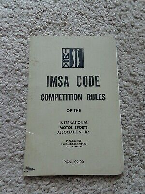 1970s IMSA Code of Competition Rules Rulebook Auto Racing