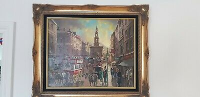 Old London ,Vintage 1980s Stunning Oil on canvas Painting of a Old London scene.