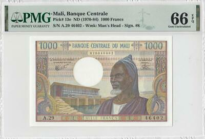 "1970-84 **Mali** Central Africa 1000 Francs French ""A"" (( Pmg 66 Epq ))"