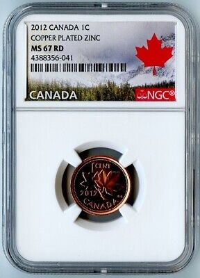 2012 Canada Ngc Ms67 Rd Copper Plated Zinc Cent! Top Pop! Last Year Of Issue!