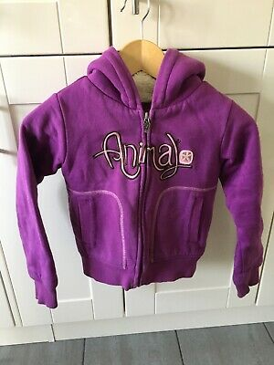 Animal Girls Purple Thick Fleece Lined Hoodie Size G XS. Great Condition.